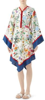 Gucci Flora Print Long Sleeve Linen Dress