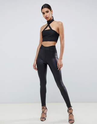 Asos Design DESIGN leather look leggings with elastic slim waist