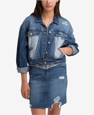 Jordache Suzanne Cotton Two-Tone Denim Jacket