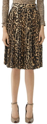 Burberry Pleated Leopard Print Stretch Silk Skirt