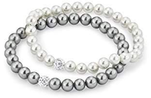 Amor Women's Bracelet Set 18 cm 925 Silver Rhodium-Plated Zirconia White Glass Beads White Grey