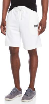 Puma White Logo Tower Knit Shorts