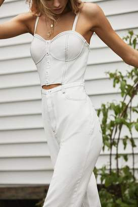 Urban Outfitters Cut-Out Denim Bustier Jumpsuit
