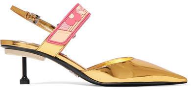 Prada - Metallic Leather Slingback Pumps - Gold