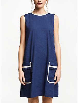 Marella Lined Linen-Cotton Blend Dress, Cornflower Blue