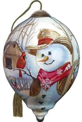 Precious Moments Western Winter Snowman Shaped Ornament