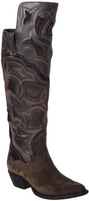 Frye Shane Embroidered Suede & Haircalf Boot