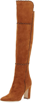 Manolo Blahnik Rubiohi Stitched Suede Knee Boot, Brown