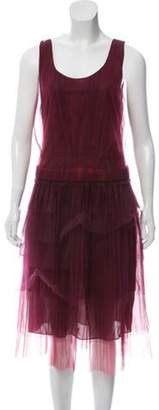 Burberry Mesh-Accented Midi Dress w/ Tags red Mesh-Accented Midi Dress w/ Tags
