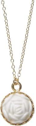 POPORCELAIN - Mini Porcelain Rose Charm Gold Filled Necklace