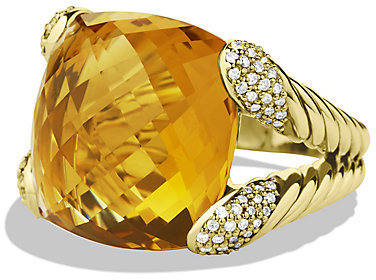 David Yurman Color Cocktail Ring with Citrine and Diamonds in Gold