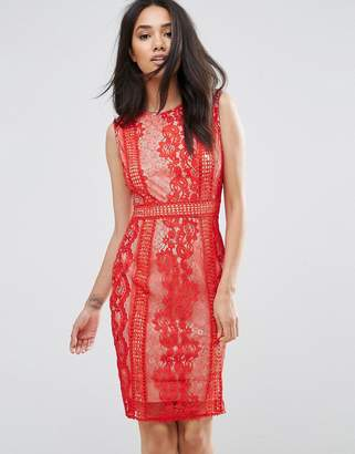 AX Paris Red Lace Bodycon Dress