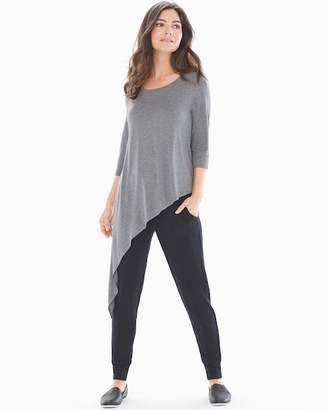 Soft Jersey Asymmetrical Hem Top Heather Graphite
