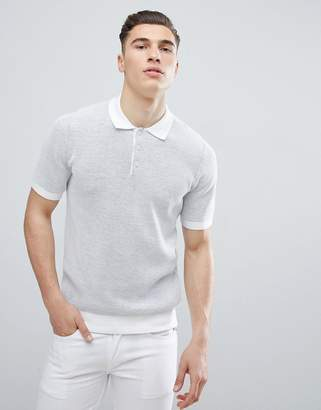 Reiss Knitted Polo Shirt In White
