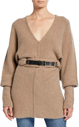 Co Cashmere Knit Belted Sweater
