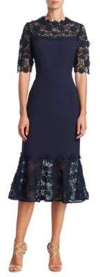 Teri Jon Midi Embroidered Lace Dress