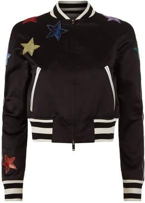 Valentino Sequin Star Satin Bomber Jacket