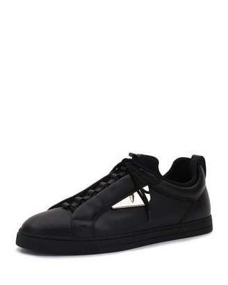 Fendi Monster Leather Low-Top Sneaker, Black $800 thestylecure.com