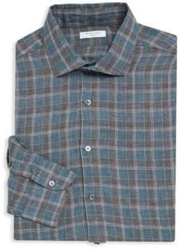 Boglioli Slim-Fit Plaid Linen Dress Shirt