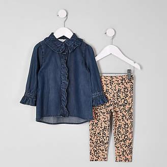 River Island Mini girls denim shirt and leggings outfit