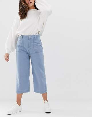 Pull&Bear wide leg jeans in blue