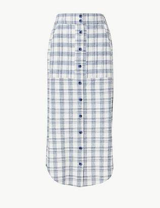 Marks and Spencer Cotton Rich Checked A-Line Midi Skirt