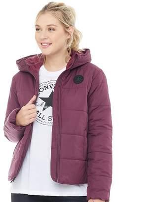 Converse Womens Core Poly Fill Puffer Jacket Burgundy