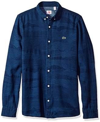 Lacoste Men's Live Long Sleeve Denim Wood Pattern Jaquard Woven Shirt