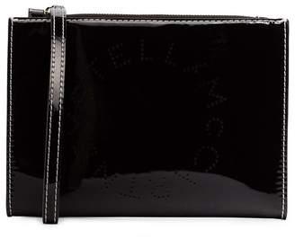 Stella McCartney Black logo print faux leather zip clutch bag