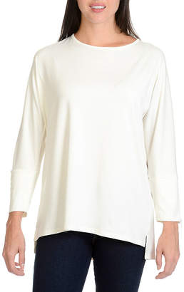 Larry Levine Zipper 3/4 Sleeve Knit Top