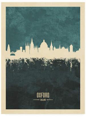 "Michael Tompsett Oxford England Skyline Teal Canvas Art - 36.5"" x 48"""