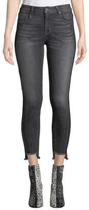 Parker Smith Twisted-Seam Cropped Skinny Jeans with Raw-Edge Step-Hem