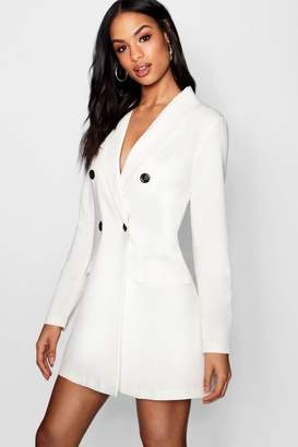 boohoo Contrast Button Pocket Detail Blazer Dress