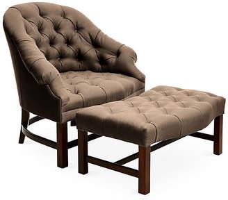 Bunny Williams Home Tufted Chair & Ottoman Set - Brown/Java