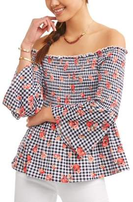 No Comment Juniors' Smocked Bell Sleeve Off the Shoulder Peplum Blouse