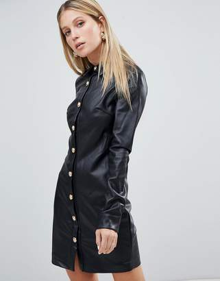 Forever Unique Faux Leather Shirt Dress