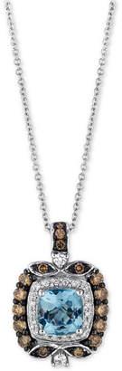 Le Vian® Chocolatier Aquamarine (3/4 ct. t.w.) and Diamond (1/2 ct. t.w.) Square Pendant Necklace in 14k White Gold $3,238 thestylecure.com