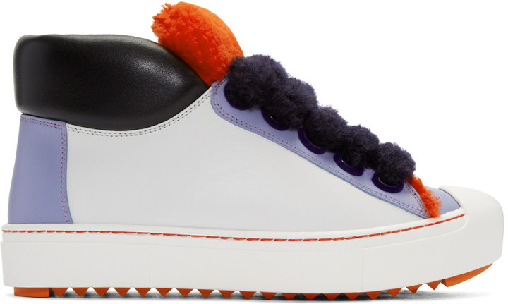 Fendi White Colorblock High-Top Sneakers