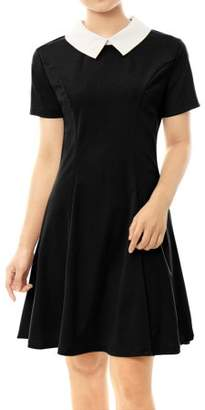 Unique Bargains Ladies Short Sleeves Contrast Collar Fit and Flare Dress Black XL