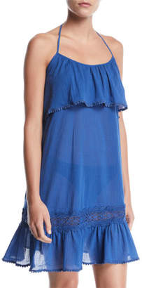 Kate Spade Halter Ruffle Embroidered Coverup Dress