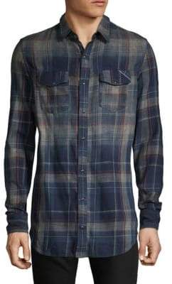 Cult of Individuality Soho Faded Plaid Sport Shirt