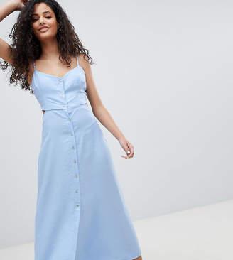 af02cb339812 Bershka cut out button detail midi dress in blue