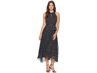 Tahari ASL Flocked Dot Midi Chiffon Dress