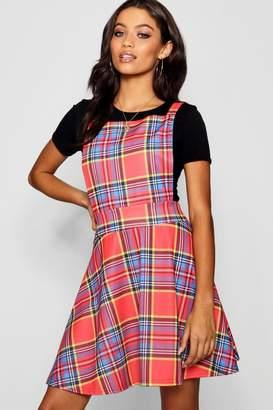 boohoo Tartan Check Jersey Pinafore Dress