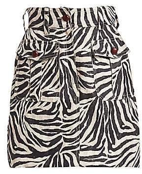 Zimmermann Women's Corsage Safari Zebra Print Mini Skirt