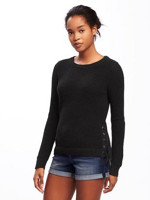 Relaxed Textured Lace-Up Sweater for Women $34.94 thestylecure.com