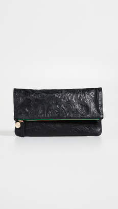 Clare Vivier Tooled Floral Foldover Clutch
