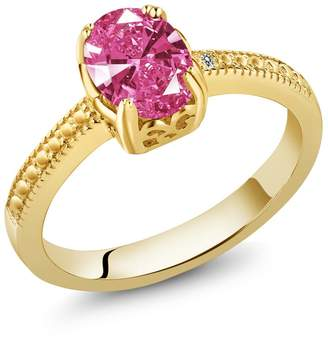 Swarovski Gem Stone King 1.22 Ct 18K Yellow Gold Plated Silver Engagement Ring Made With Pink Zirconia
