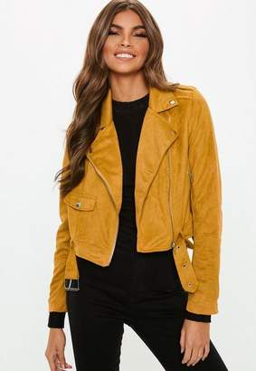 Missguided Faux Suede Belted Biker Jacket Mustard