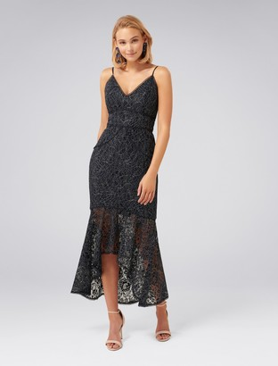 Forever New Lexi Lace Fishtail Dress - Navy - 4